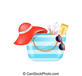 Female Bag with Beach Accessories. Set of Summer Design Elements
