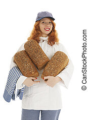 Female baker chef carrying bread
