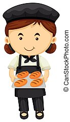 Female baker in black apron and hat