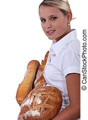 Female baker on white background