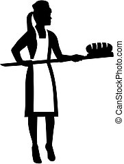 Female baker silhouette with bread