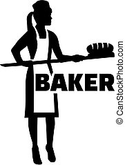 Female baker silhouette with job title
