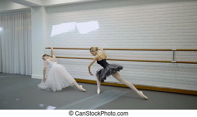 Female ballerinas in tutu take different dance positions at machine.