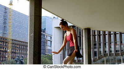 Female ballet dancer performing in the city 4k - Graceful...