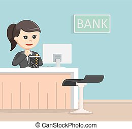 female bank teller illustration design