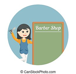 female barber shop with barber shop board in circle background