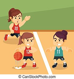 female basketball competing illustration design
