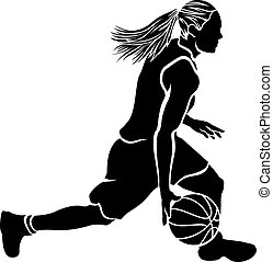 Basketball silhouette of a female basketball player dribbling.