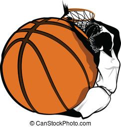 Female Basketball Dunk Design - Color vector illustration of...