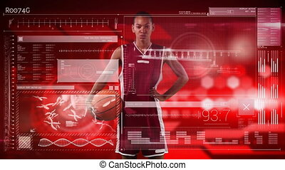 Female basketball player against digital interface