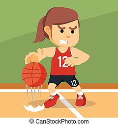 female basketball player dribbling