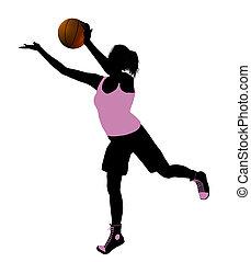 Female Basketball Player Illustration Silhouette - Female...