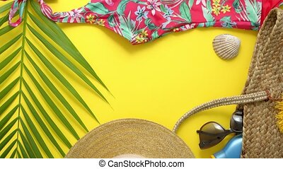 Female beach summer clothes and accessories collage on ...