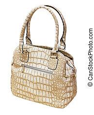 Female beige leather handbag