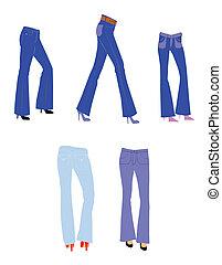 female bell bottom jeans set