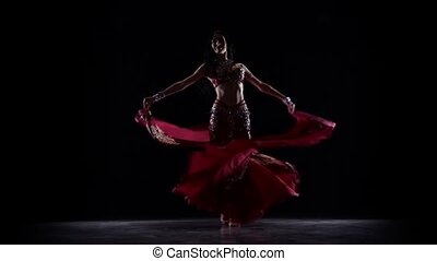 Female belly dancer who is starting shaking her hips. Black...