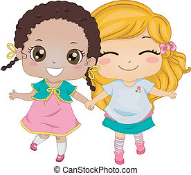 Female Best Friends - Illustration Featuring Two Girls...