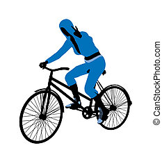 Female Bicycle Rider Illustration Silhouette