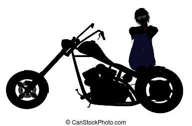 Female Biker Silhouette - A female biker silhouette on a...