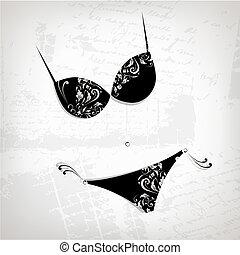 Female bikini, floral ornament for your design