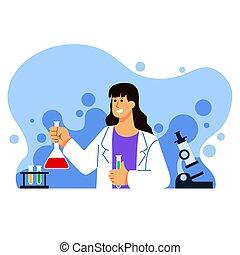 Female Biology Scientist Character Illustration