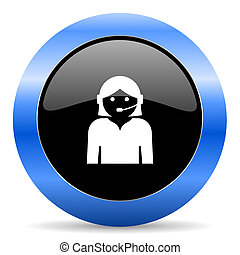 Female black and blue web design round internet icon with shadow on white background.