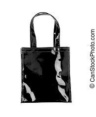 Female black plastic bag isolated on white. Vertical