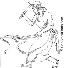Female-blacksmith-hammer-anvil-DOODLE - Doodle art...