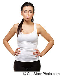 Female Blowing Bubble Gum On White Background