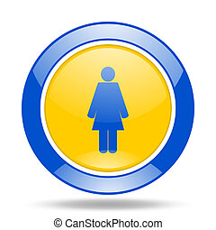 female blue and yellow web glossy round icon
