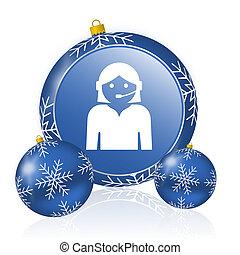 Female blue christmas balls icon
