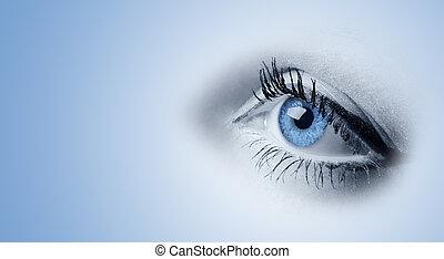 Female blue eyes. A photo close up, a part face