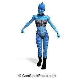 female blue fantasy alien. 3D rendering with clipping path and shadow over white