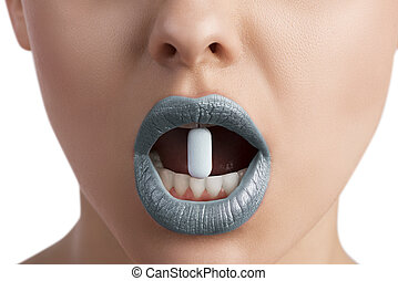 female blue lips with pill