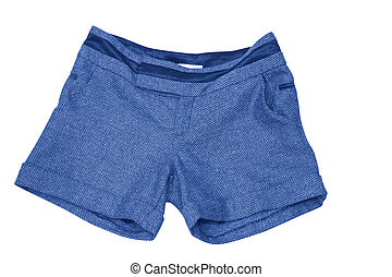 female blue shorts isolated on white (contains clipping path)