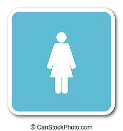 female blue square internet flat design icon