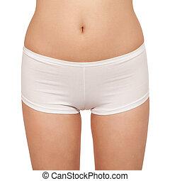 Female body in underwear isolated on white