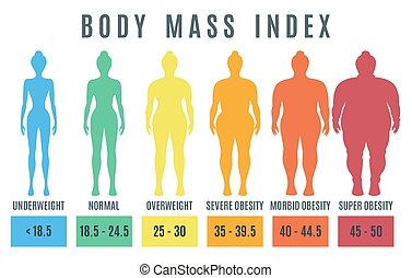 Female body mass index. Normal weight obesity and overweight illustration