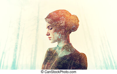 Female body with grunge texture, double exposure effect. Woman on blur background