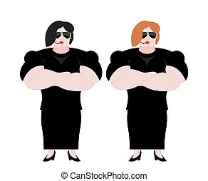 Female Bodyguard. Strong Woman guard at  nightclub. Black suit and hands-free. Lady Security on white background. protection and professional teamwork