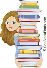 Female Bookworm - Illustration of a Girl Carrying a Tall...