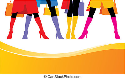 Composition with female feet. Standing four women bright boots are put on. Feet are located on a white background.