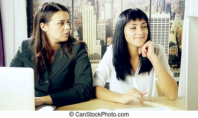 Female boss in office angry