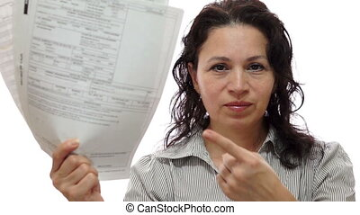 Female Boss Mad With Papers - A female boss with a mad and...