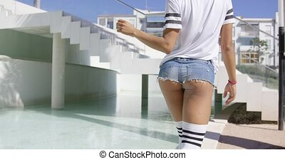 Female bottom on stairs background