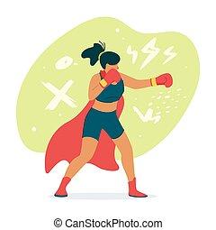 Female boxer, fighter in cape flat vector illustration....