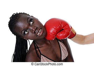 Female boxer getting punched