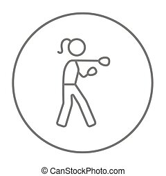 Female boxer line icon. - Female boxer line icon for web,...