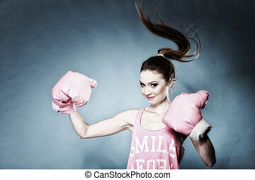 Female boxer model with big fun pink gloves - Female boxer ...