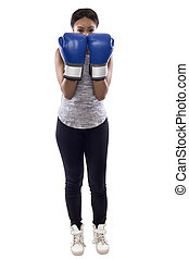 Female Boxer on a White Background with Defensive Blocking Pose
